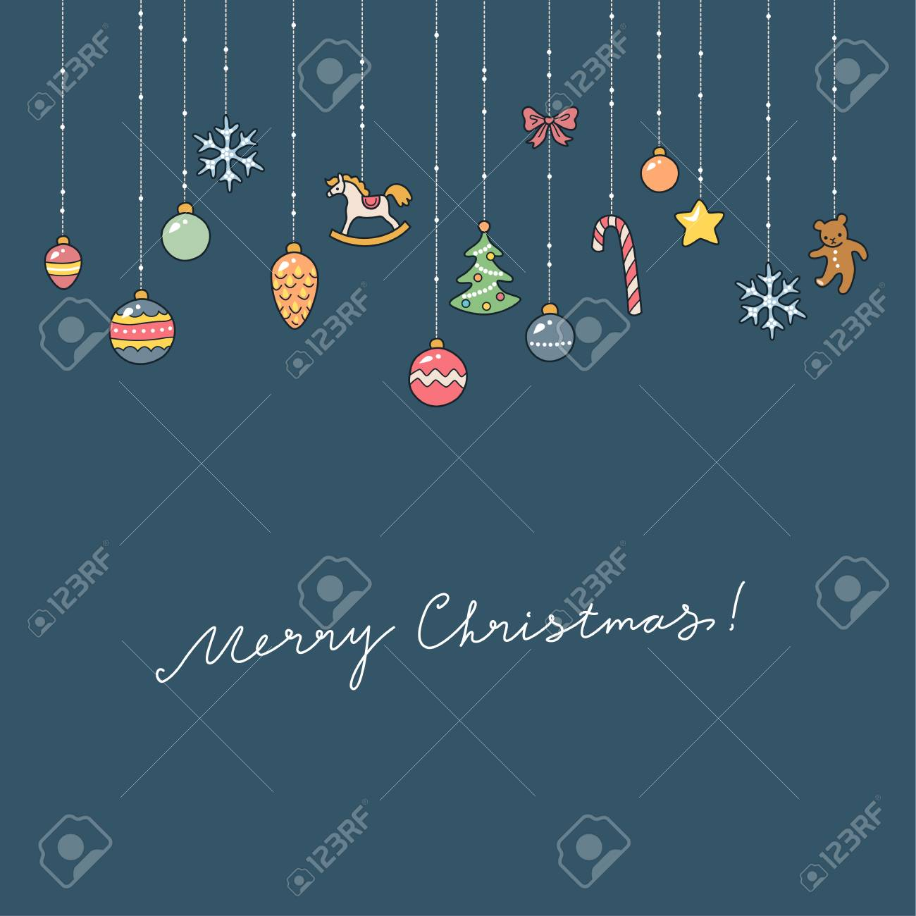 christmas greeting card cute christmas decorations on blue background royalty free cliparts vectors and stock illustration image 46579180 christmas greeting card cute christmas decorations on blue background