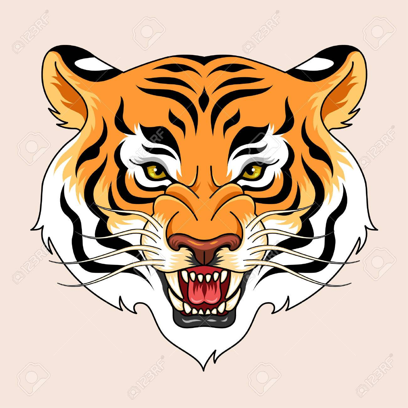 Roaring Tiger S Head Traditional Tattoo Symbol For Your Design