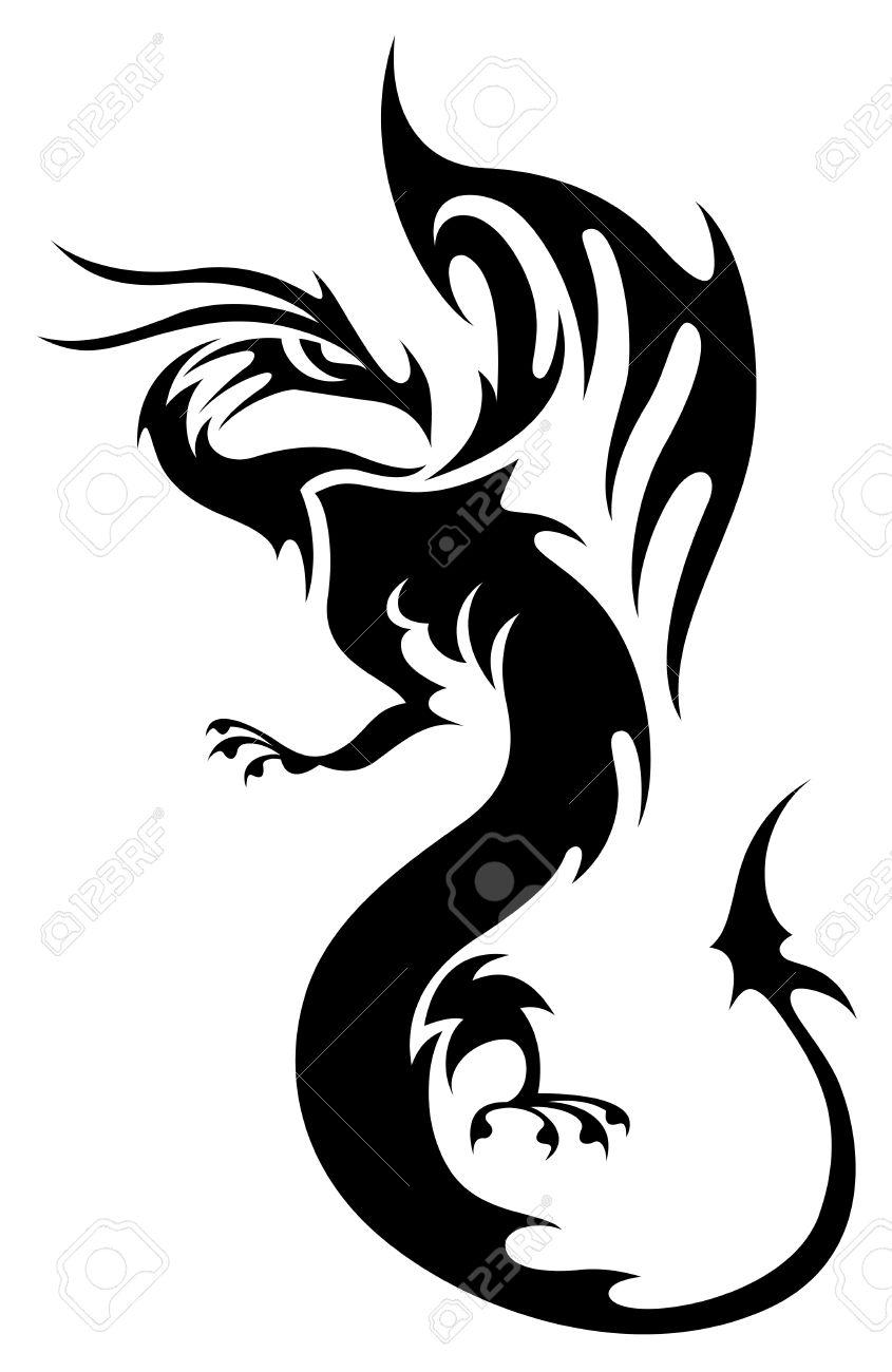 Tatouage Dans Le Style Tribal Silhouette De Dragon Noir Isole Sur