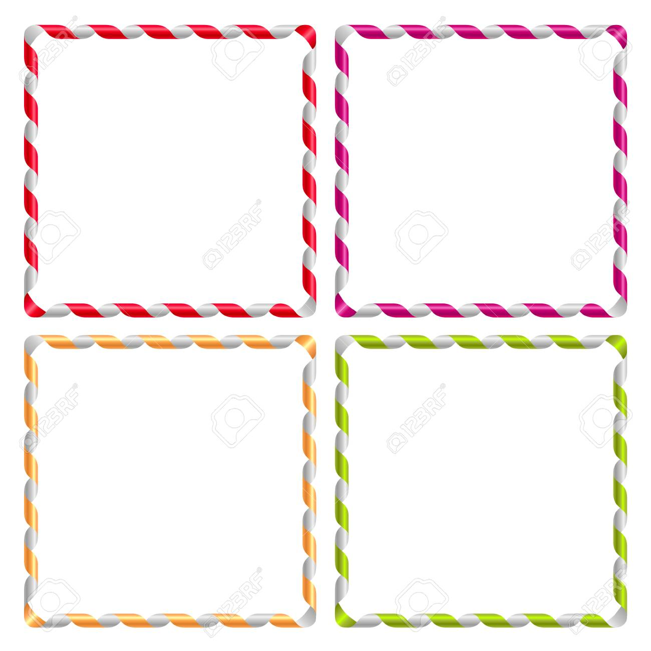 The Set Of Square Holiday Frames Made Of Curly Ribbons Royalty Free ...