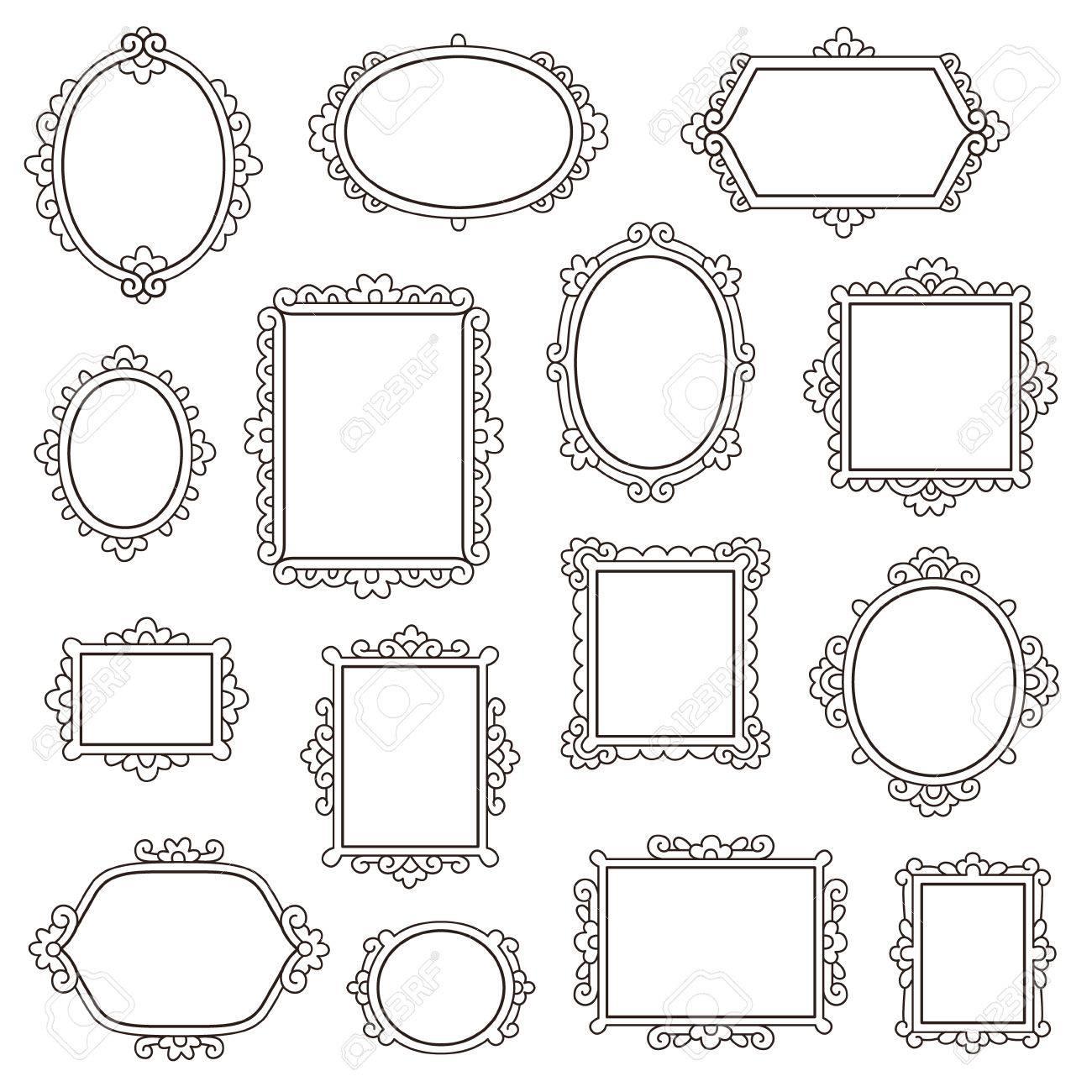Conjunto De Pequeños Marcos Vintage Para Su Diseño Aislado En Blanco ...