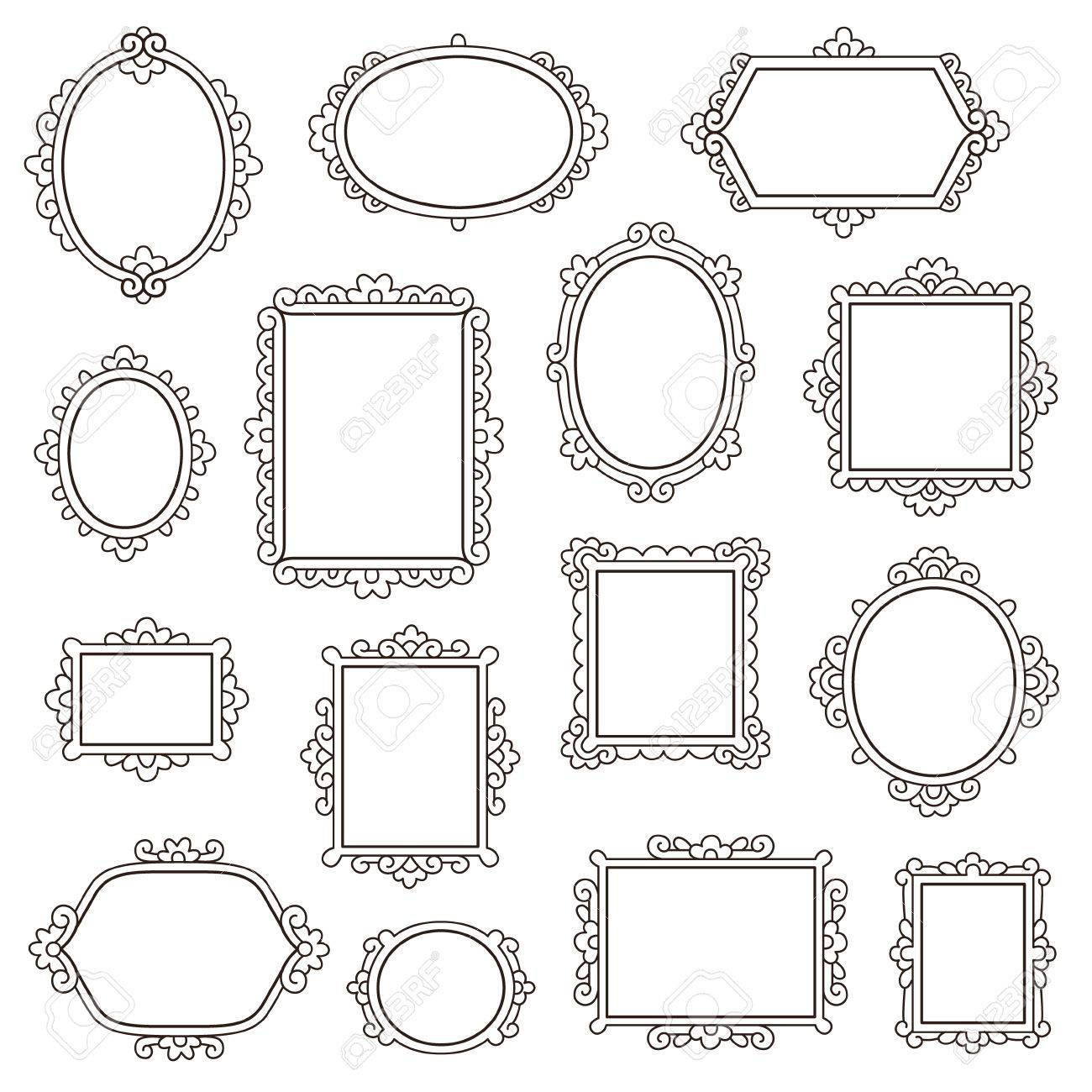 Set Of Small Vintage Frames For Your Design Isolated On White ...