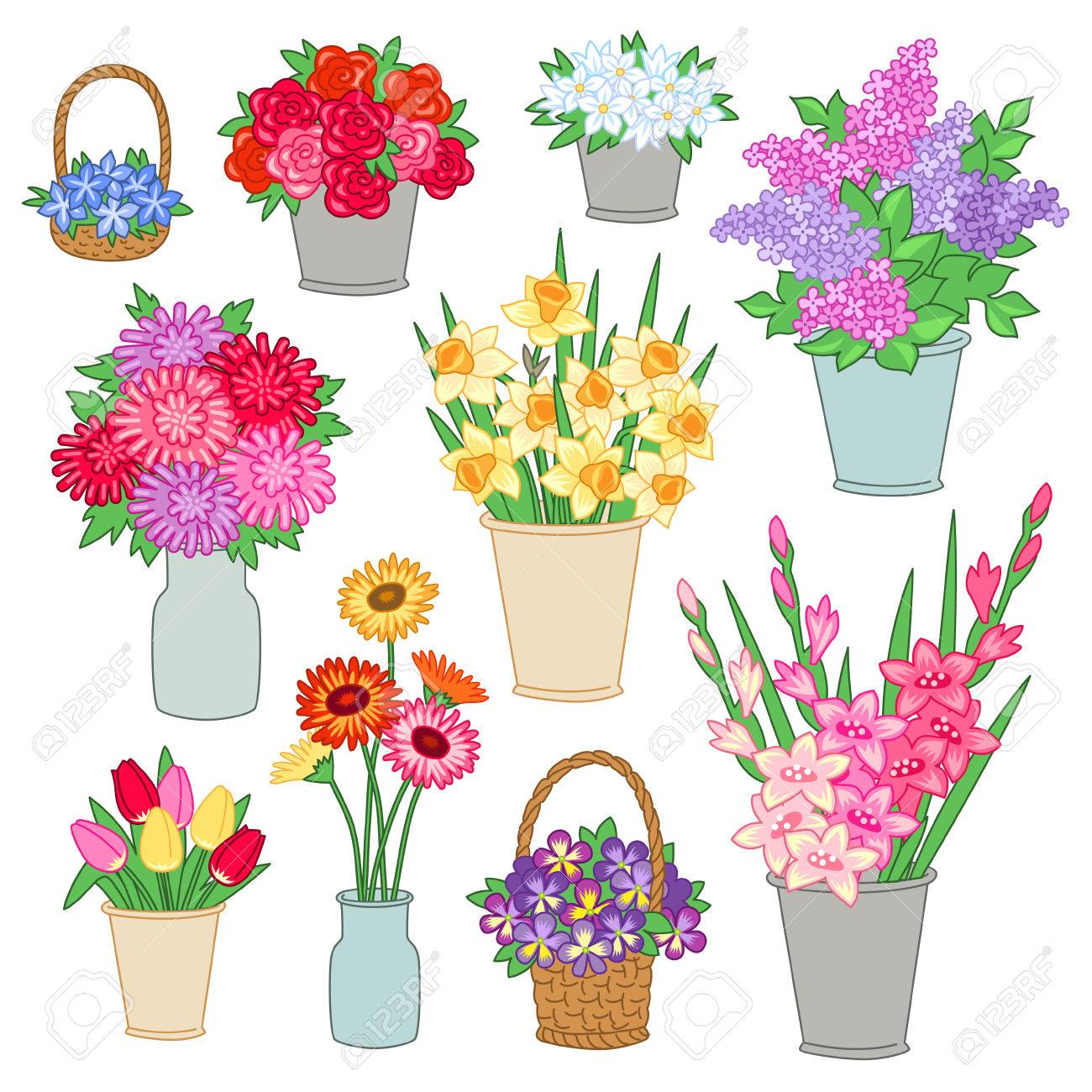 Set Of Bouquets Of Flowers In Buckets And Baskets For The Flower Royalty Free Cliparts Vectors And Stock Illustration Image 60933056