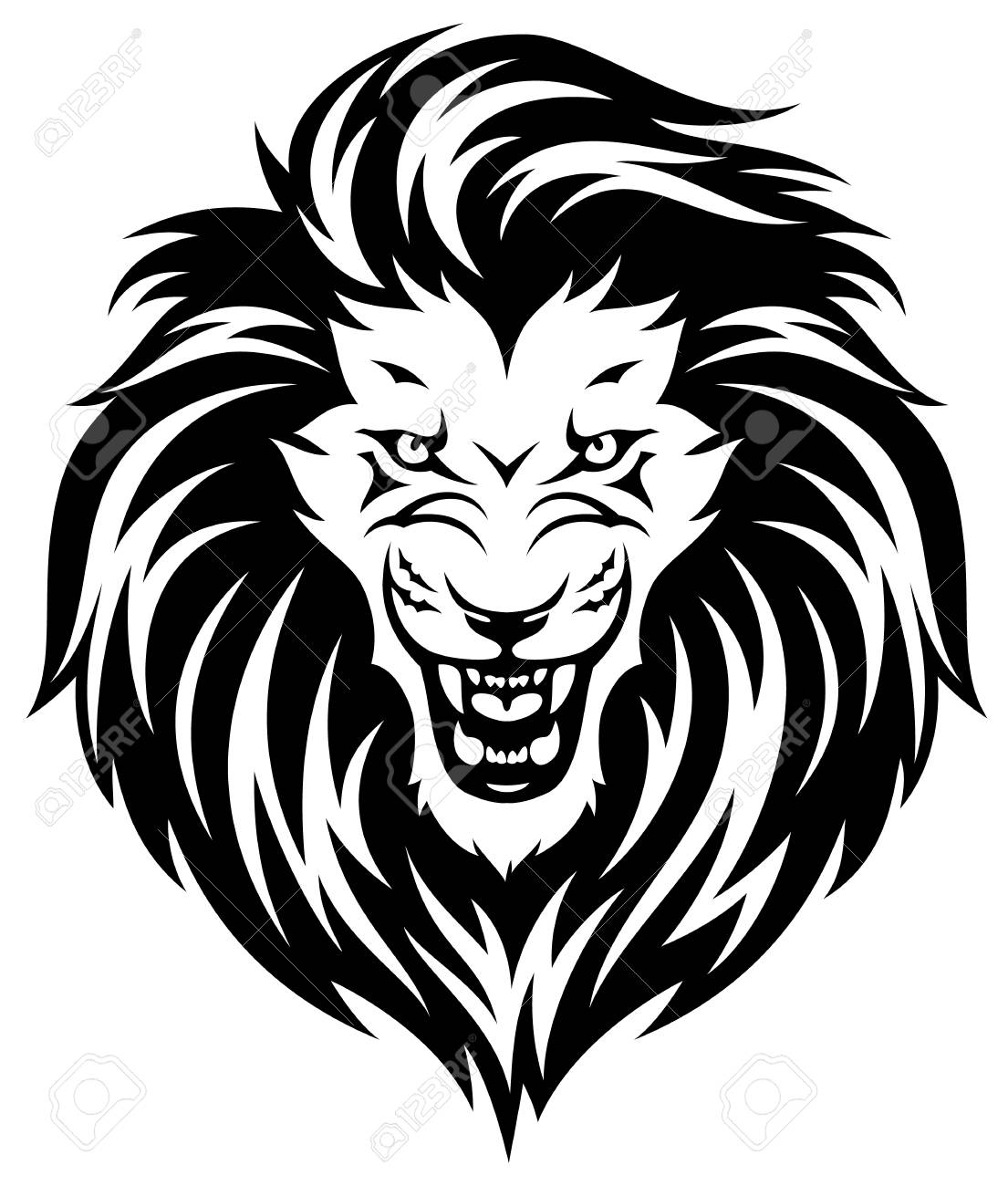 Head of roaring lion  Black illustration isolated on white background