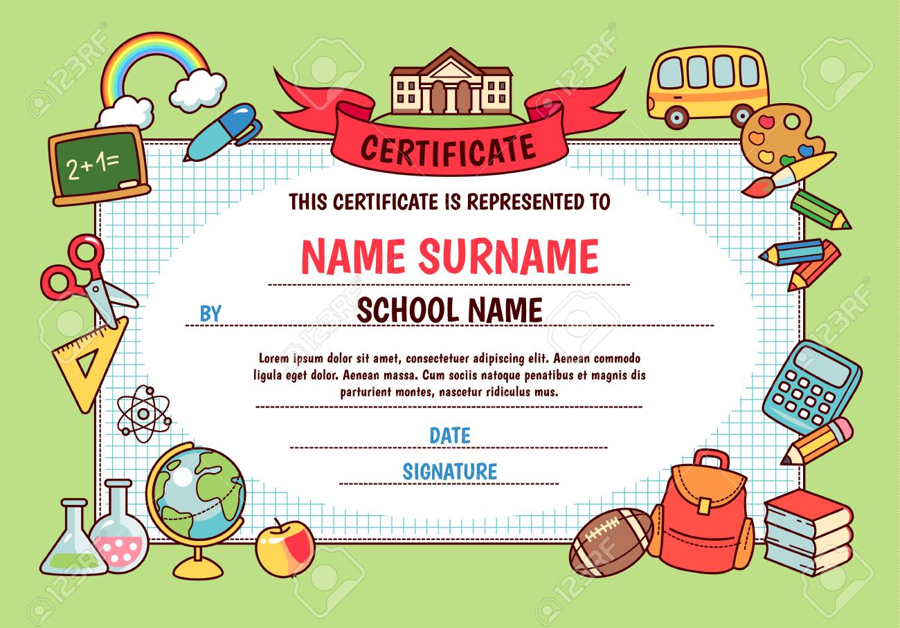 cc24399aba53 Diploma for elementary school. Cute template with frame of cartoon school  objects and symbols on