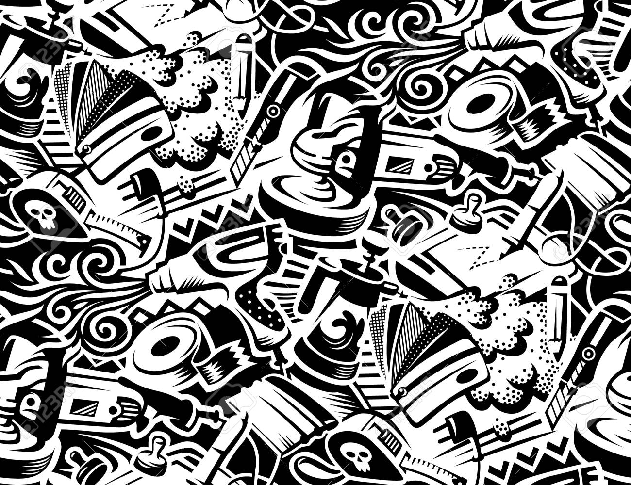 Tools for vinyl film pasting of car. Graffity style illustration. Seamless pattern for your design - 102987012