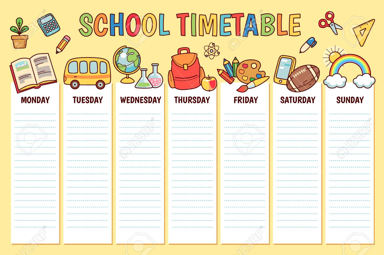 School timetable template with school objects vector | free download.