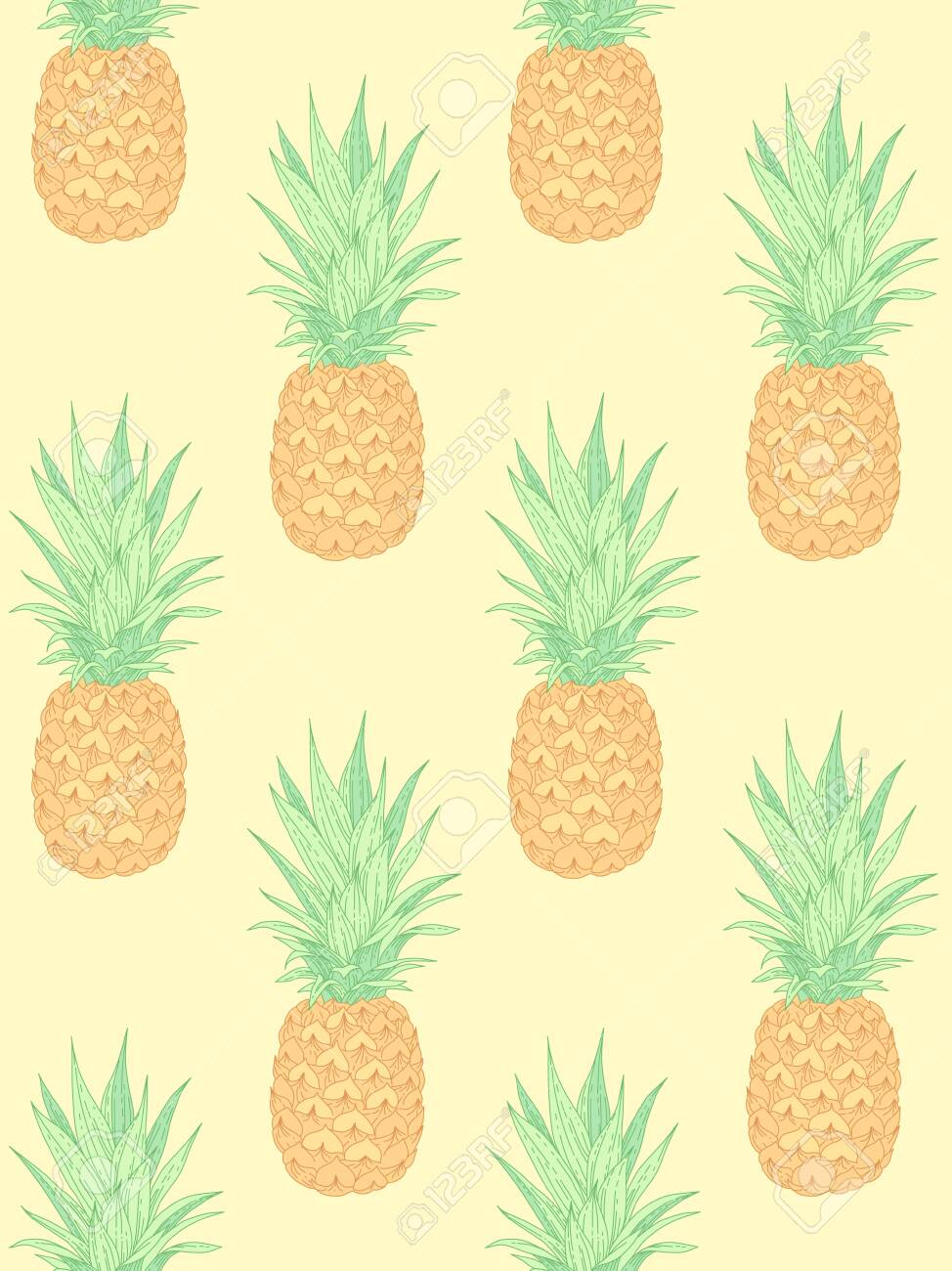 Fresh pineapples on yellow. Seamless pattern for textile, design and decoration - 122758901