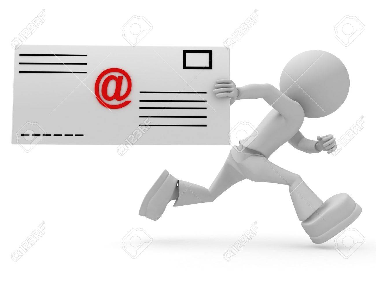 Email Letter Background Stock Photo - Persons with email letter. 3d image isolated on white background.