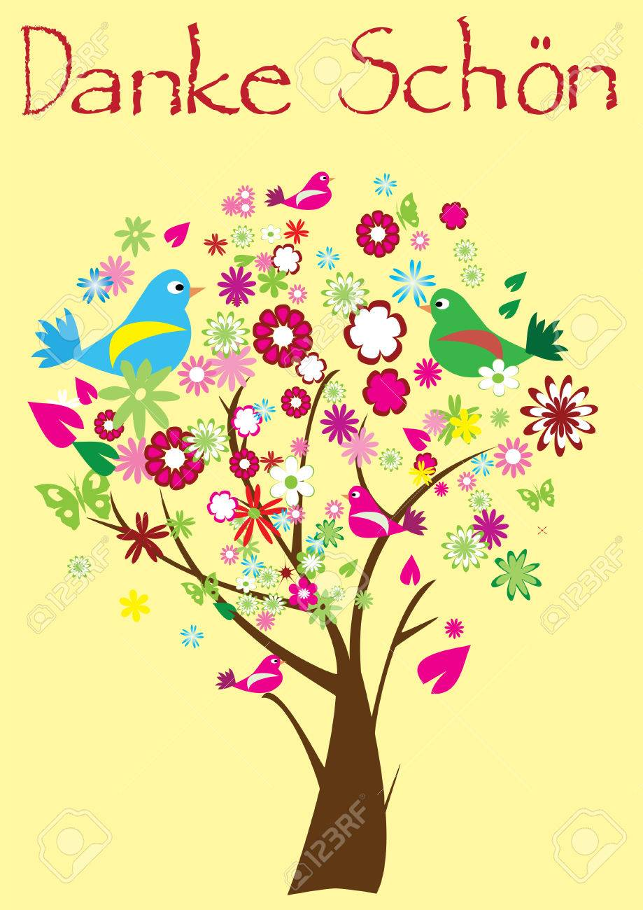 thank you card with floral tree Stock Vector - 8002589