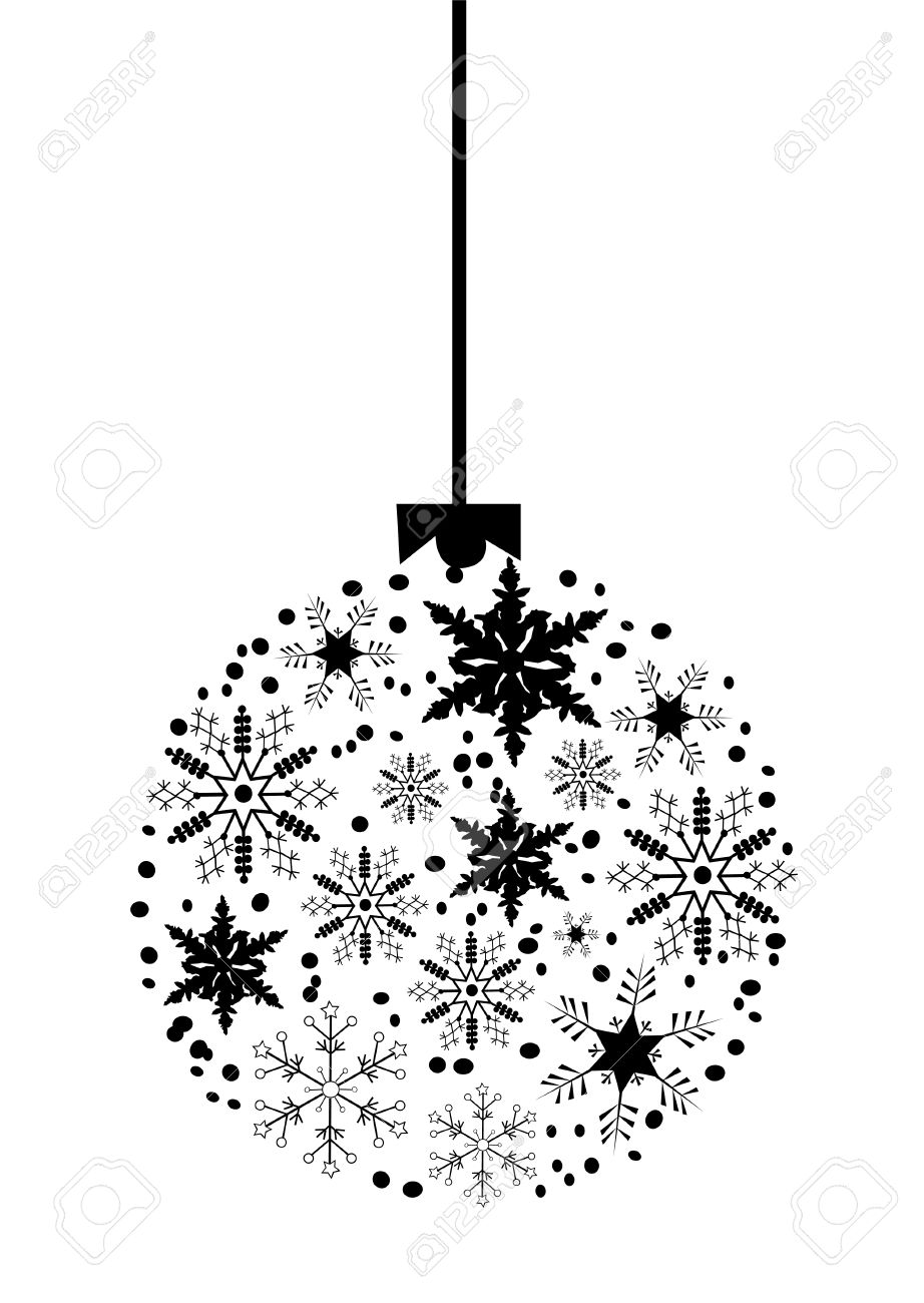White christmas tree ball ornaments - Christmas Tree Ball Made Of Snowflakes Stock Vector 8173427