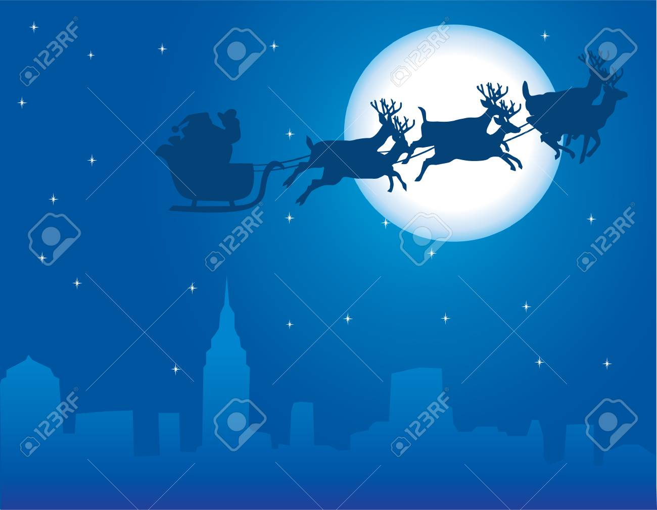 urban holiday background with santa claus Stock Vector - 8266158