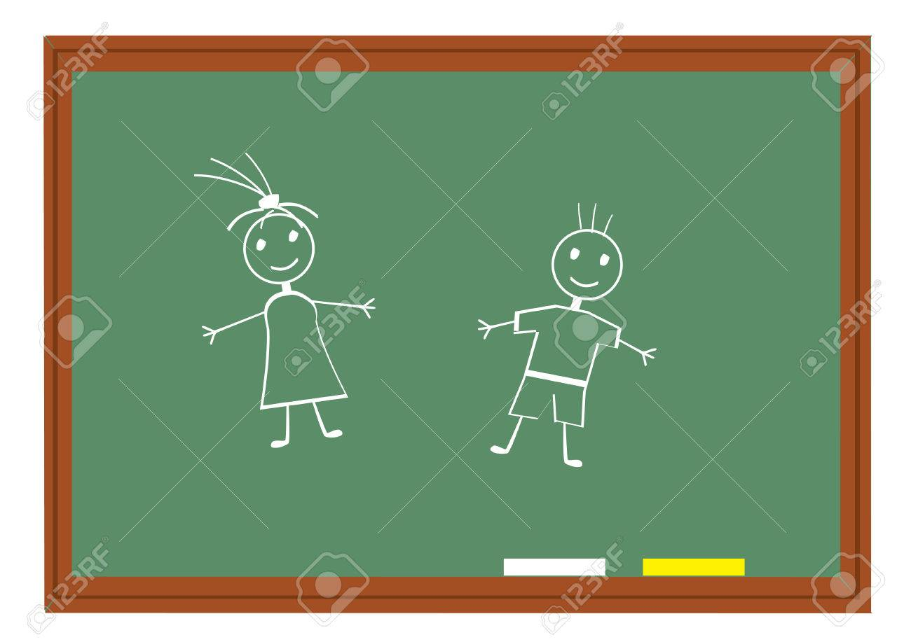 blackboard with funny people Stock Vector - 8435907