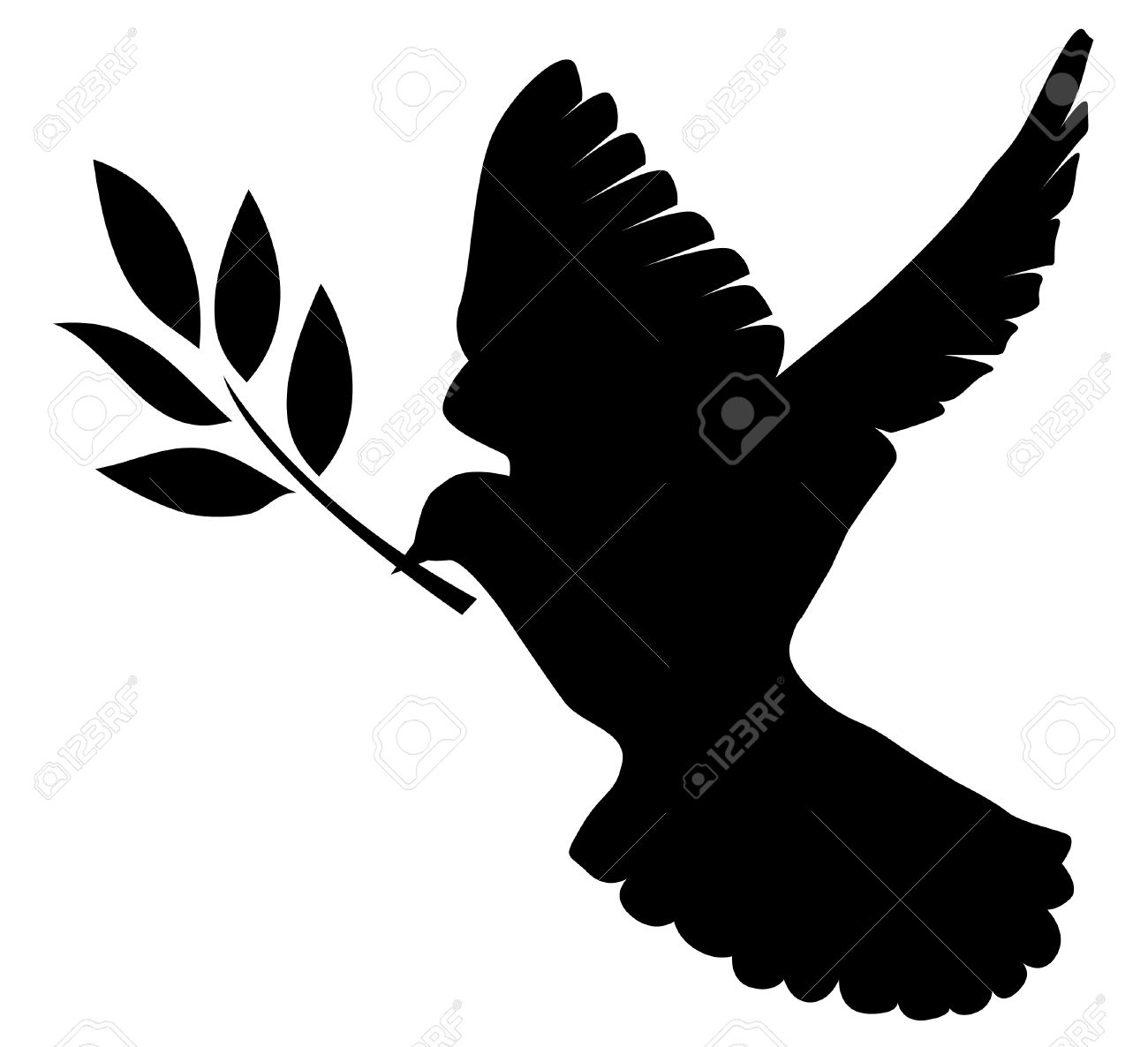 dove silhouette with olive branch