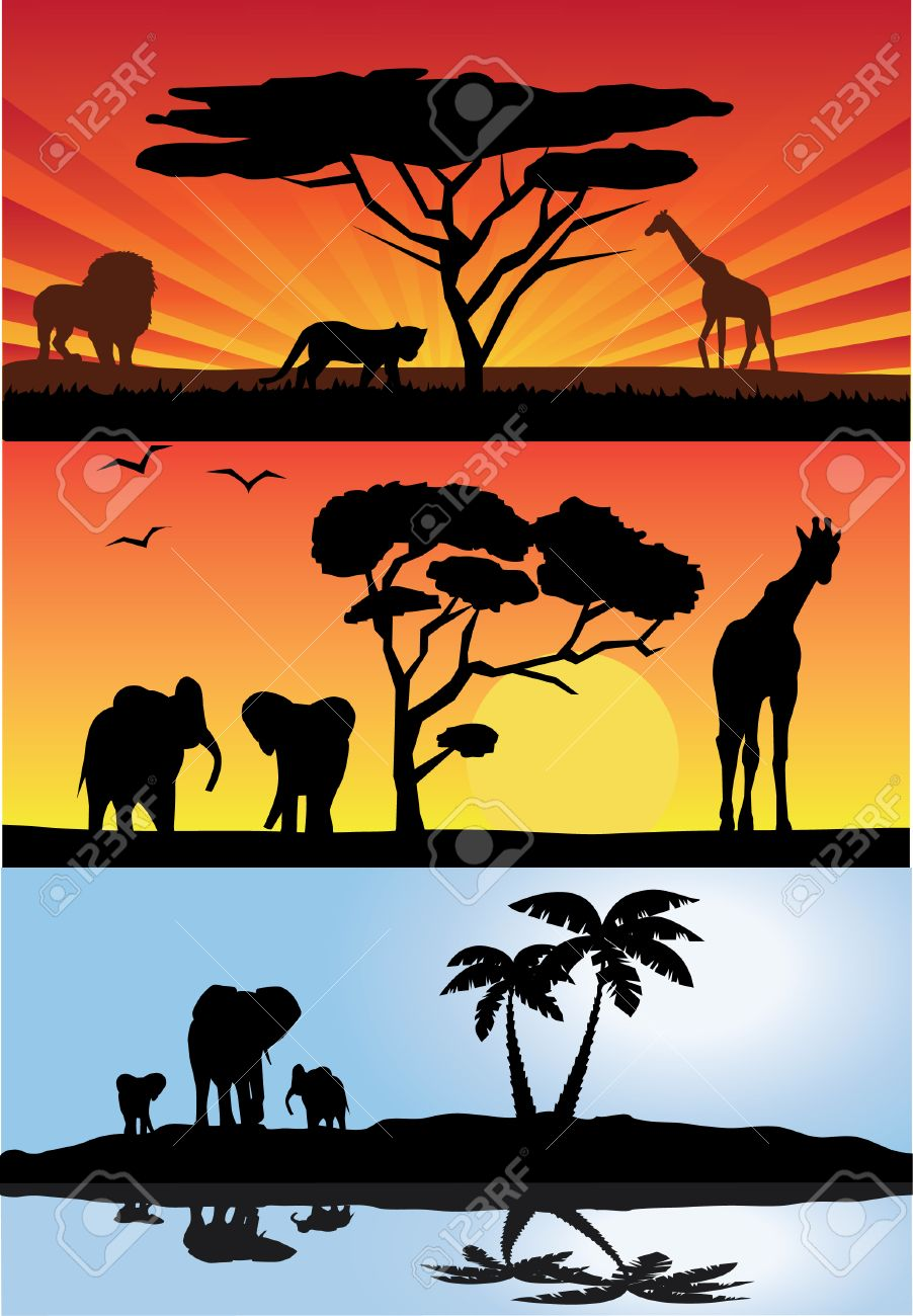 african landscapes with animals Stock Vector - 8533445