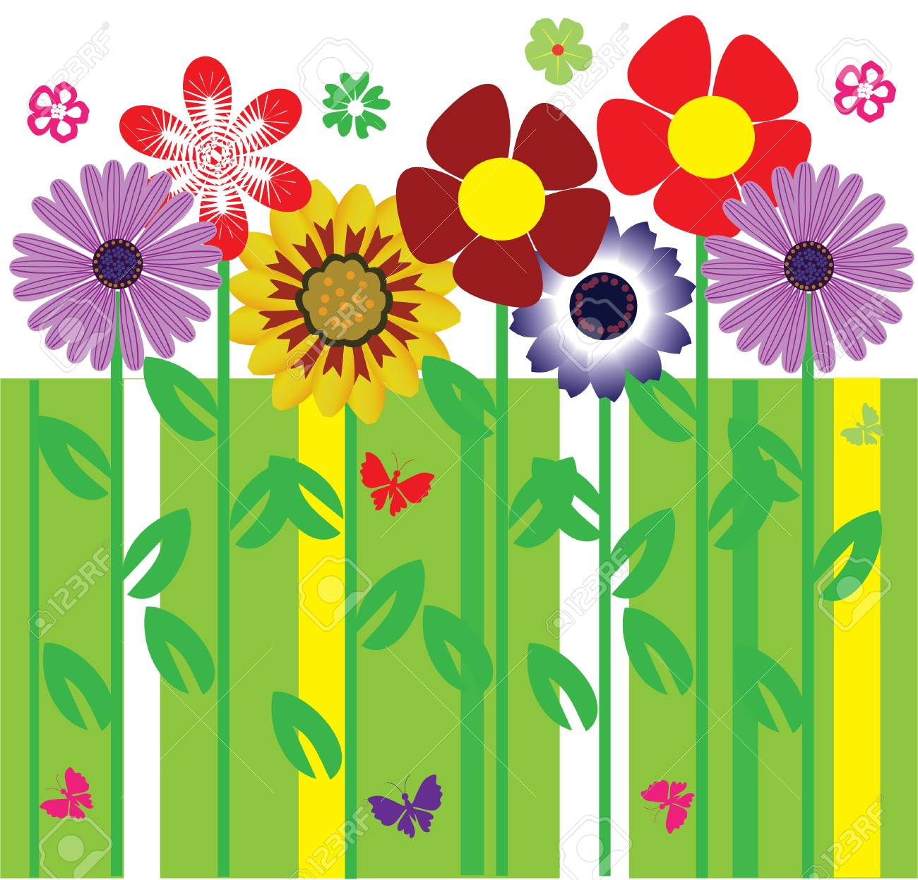 card with flowers and butterflies Stock Vector - 8557928