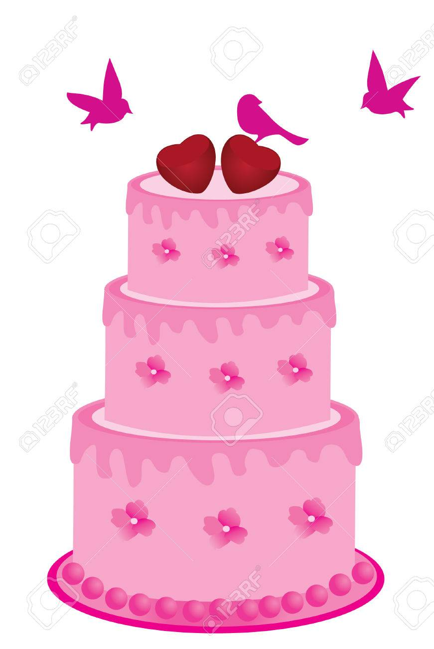 Vector Pink Cake With Flowers And Birds Royalty Free Cliparts