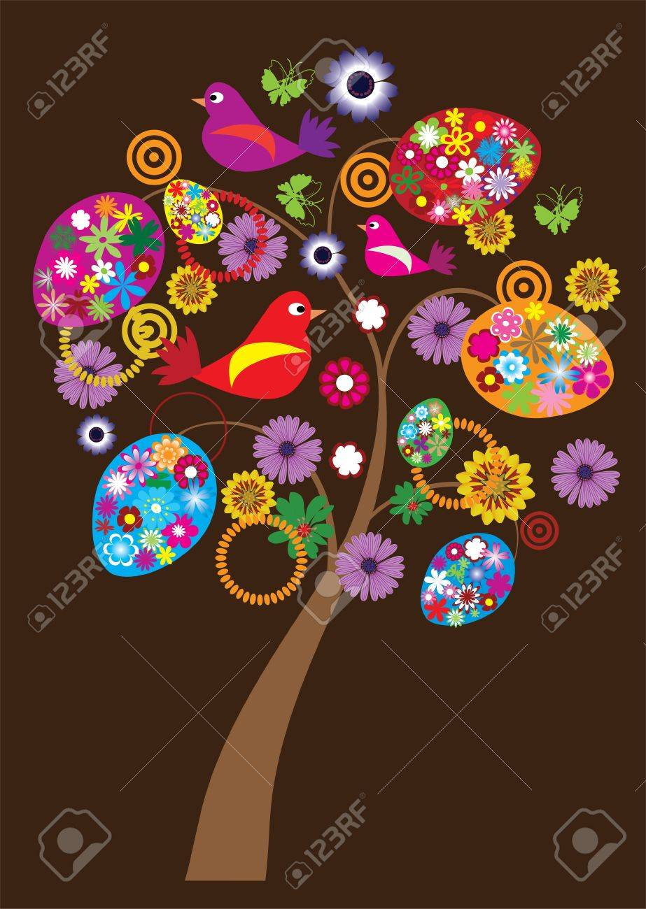easter tree with floral eggs and birds Stock Vector - 9244367