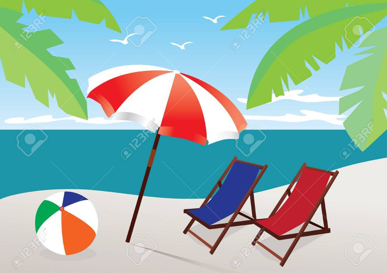 beach with umbrella and chairs Stock Vector - 9579724