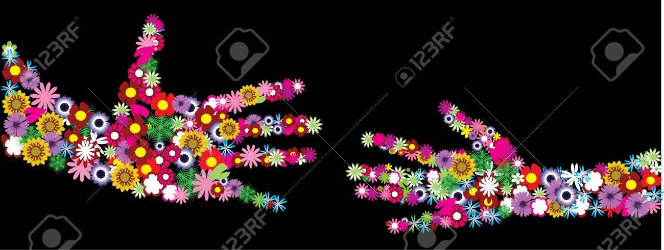 vector floral hands Stock Vector - 9637263