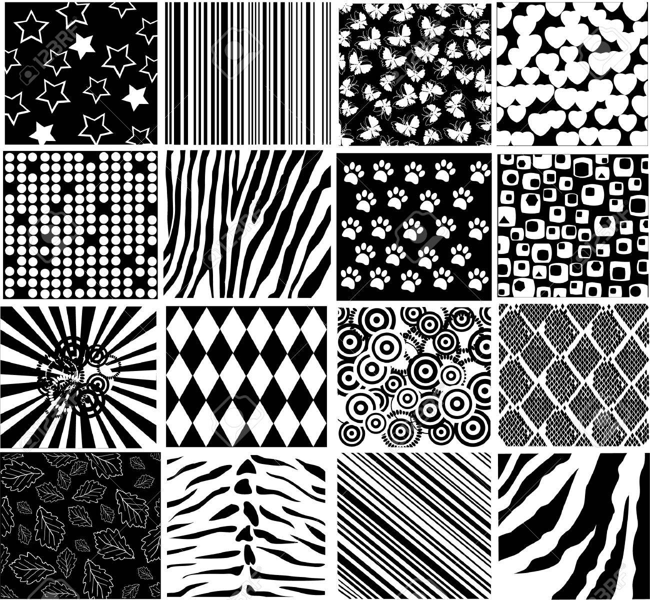 vector black and white patterns Stock Vector - 9637247