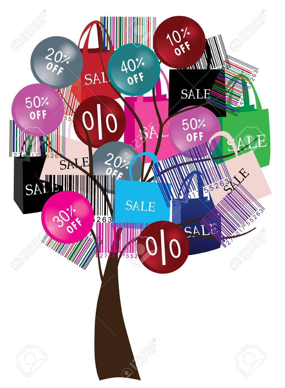 sale tree with bar-codes and shopping bags Stock Vector - 9874467