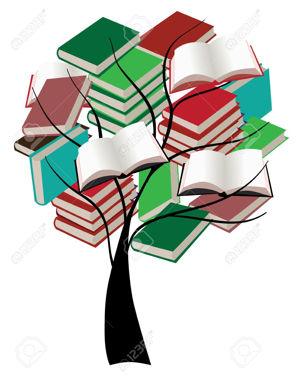 vector tree with books Stock Vector - 10101278