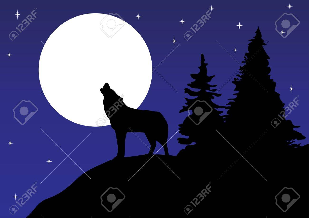Wolf Howling: Vector Wolf Howling At The Moon