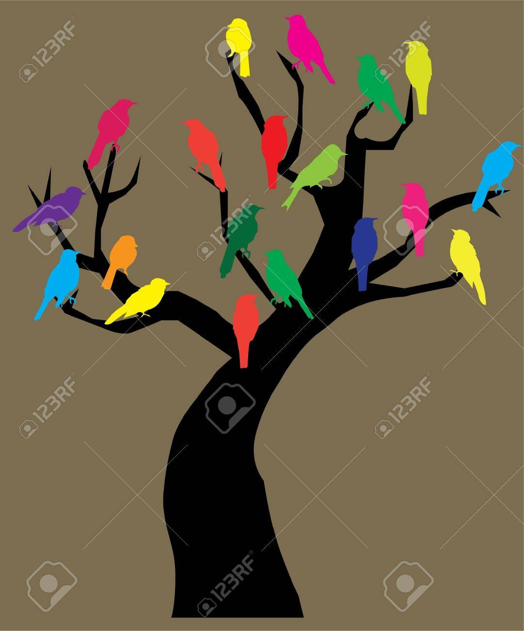 tree with birds Stock Vector - 10419113
