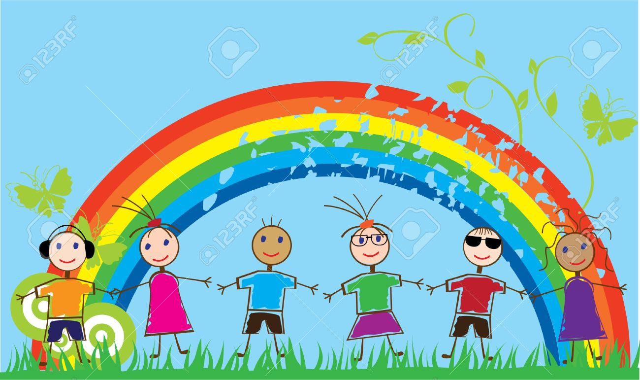 funny people and rainbow Stock Vector - 10770792