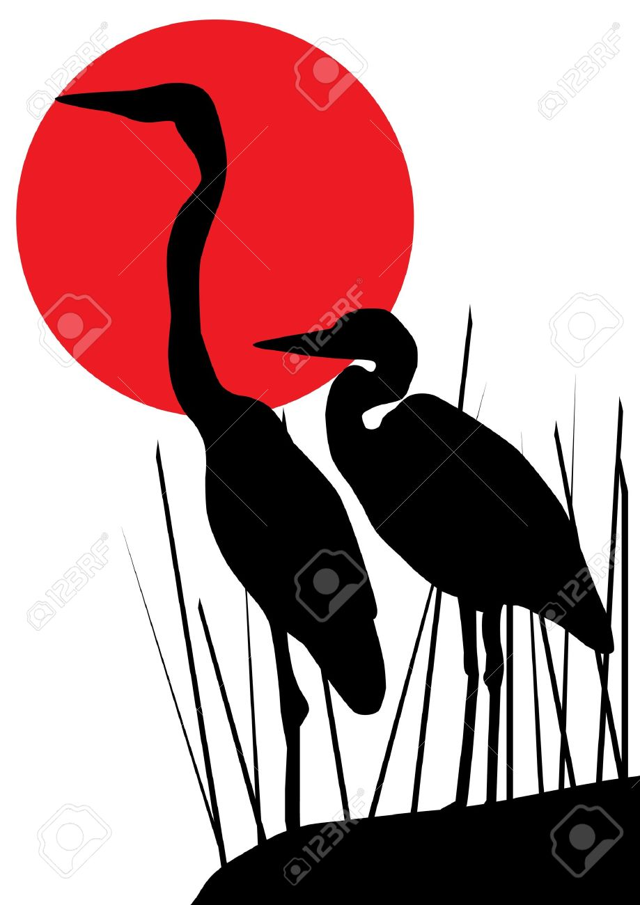 heron silhouettes Stock Vector - 10770799