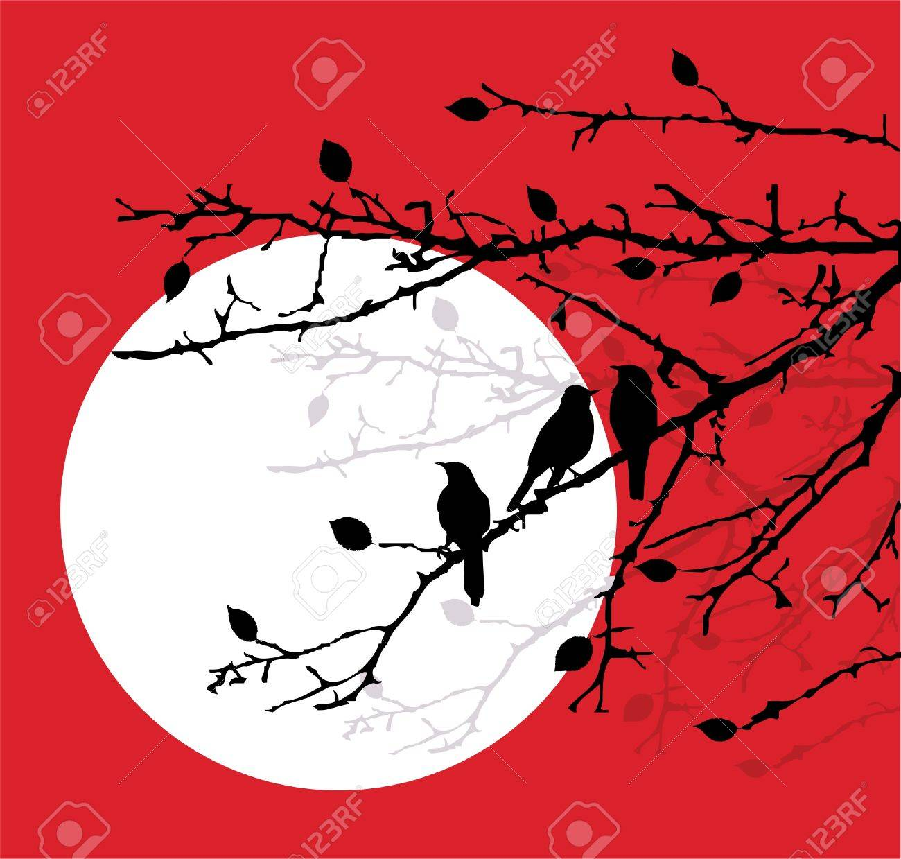 birds on the branches Stock Vector - 12053220