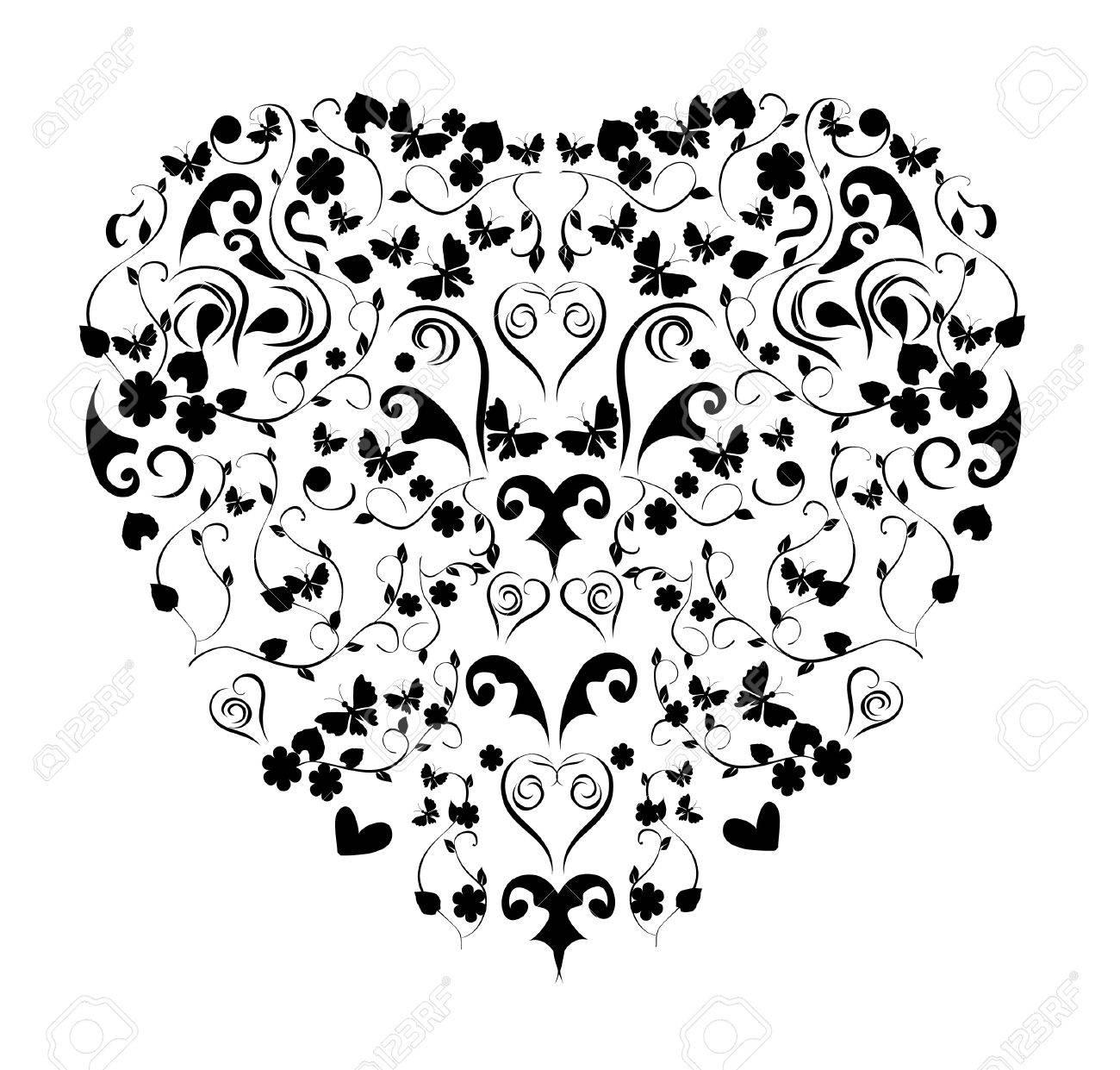vector vintage floral heart Stock Vector - 12421193