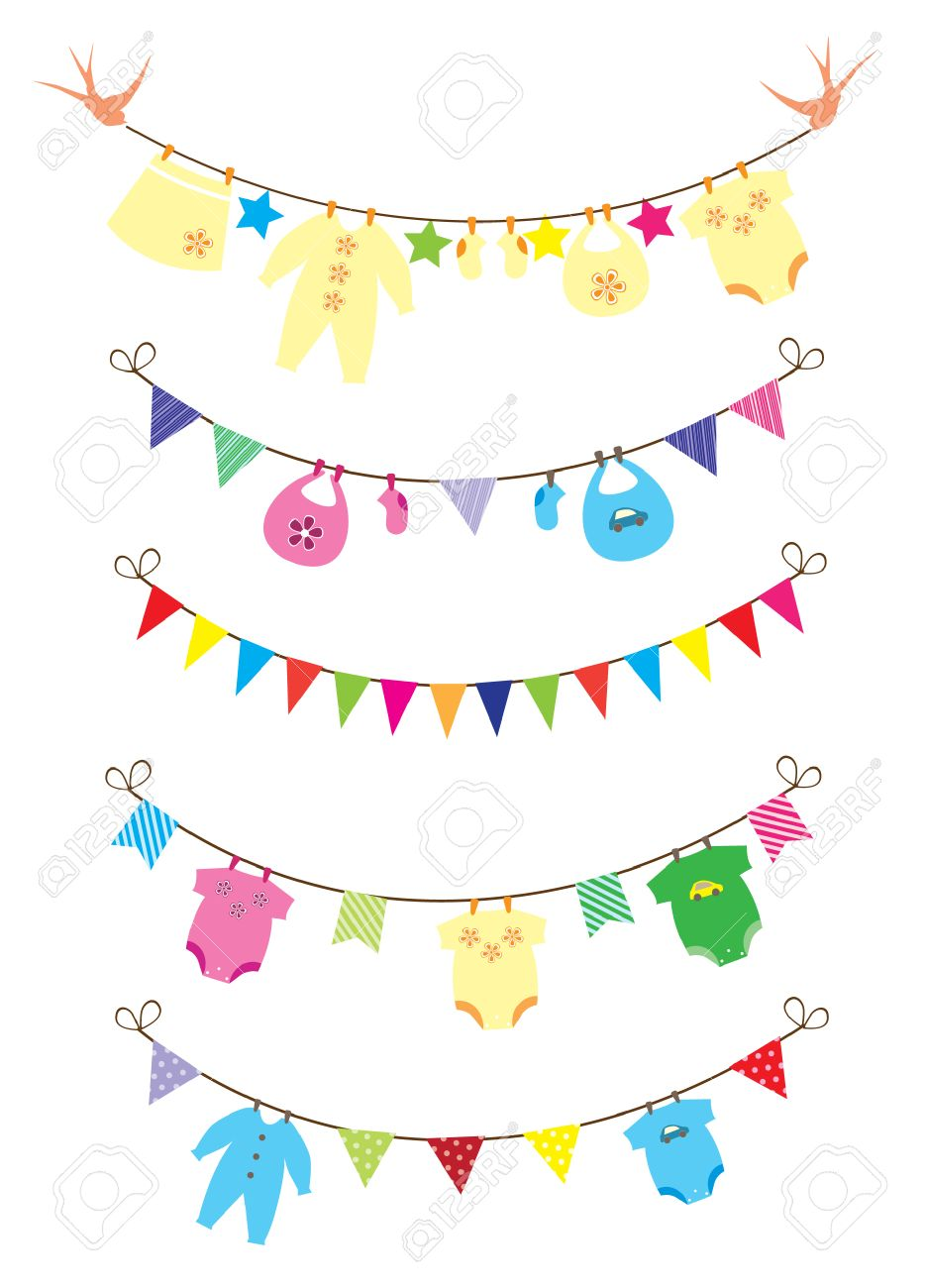 Newborn Baby Clothes With Bunting Royalty Free Cliparts Vectors
