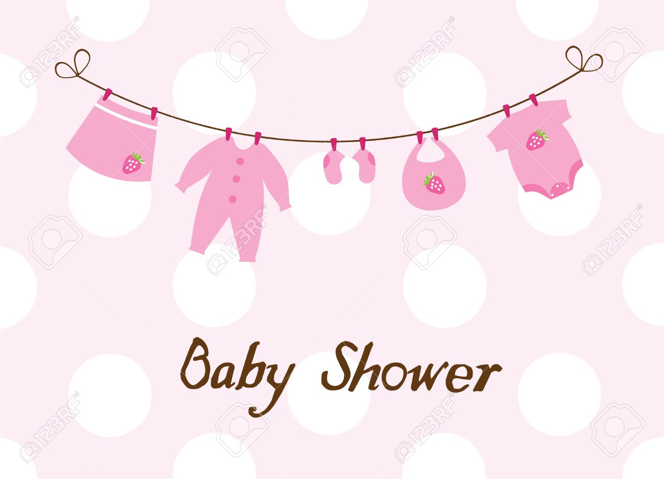 4981028f1 Vector Baby Girl Newborn Clothes With Strawberries Royalty Free ...