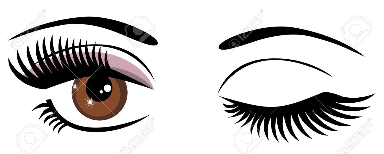 茶色の目のまばたきのベクトル ...
