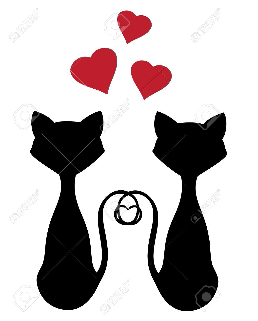 Gatos Siluetas Vector Para El Día De San Valentín Ilustraciones