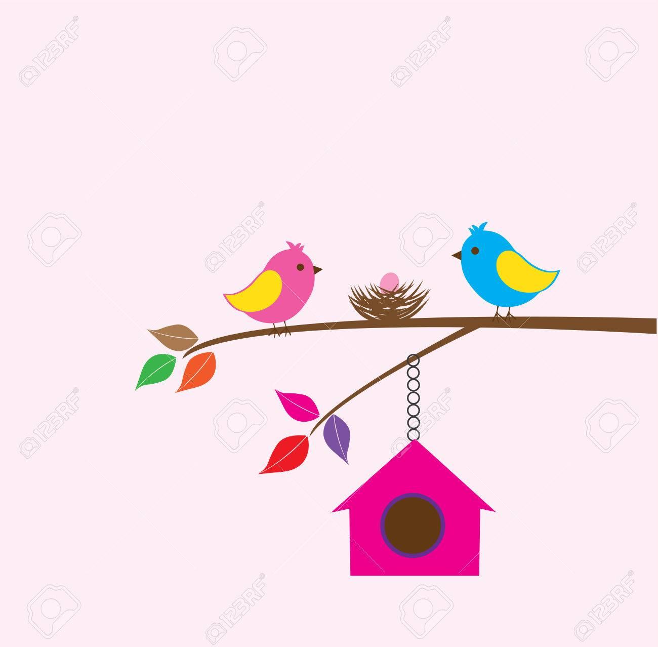 Aves De Vectores Con Un Nido Y Una Casa Del Pájaro En El árbol ...