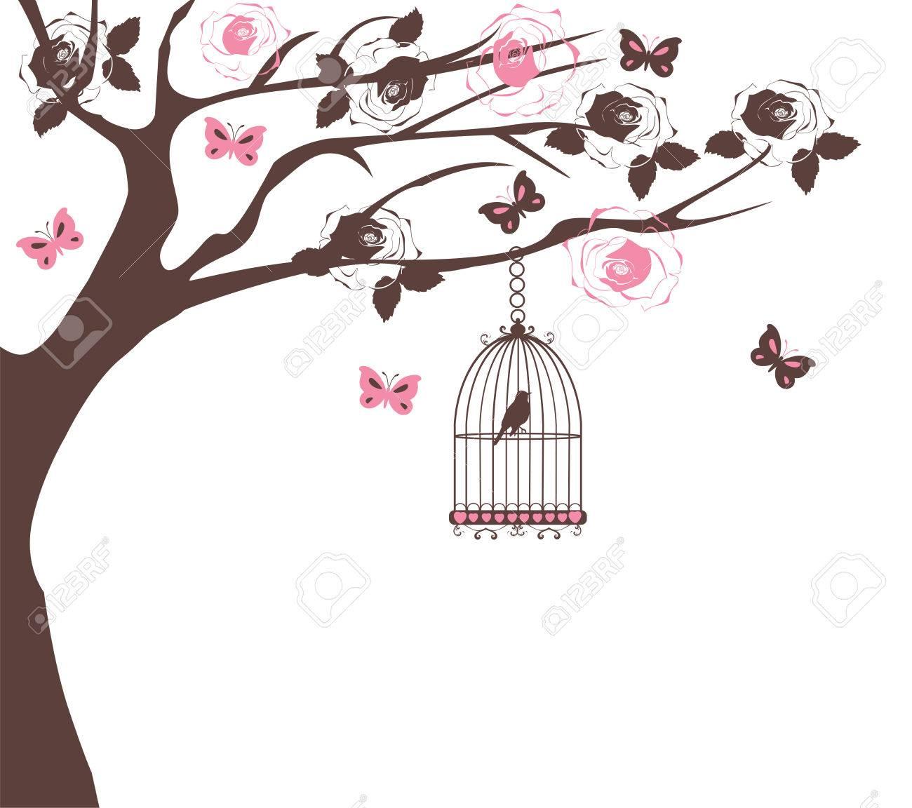 Ilustración De Un árbol Con Rosas, Mariposas Y Aves De Jaula ...