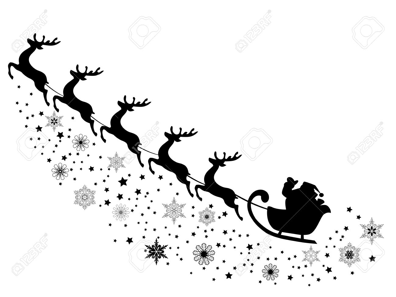 Vector Illustration Of Santa Claus Flying With Reindeer Royalty Free