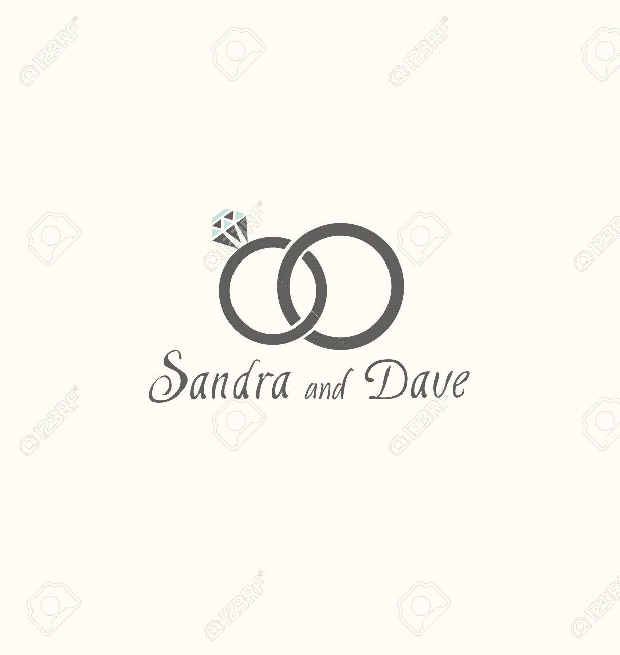 vector illustration of two wedding rings isolated on white background - 50092931