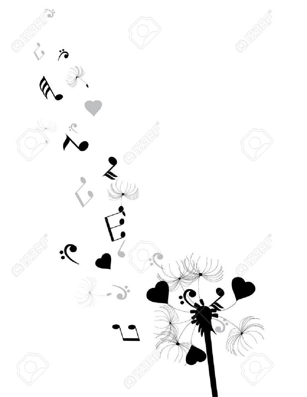 illustration of a dandelion with hears and musical notes - 51471432