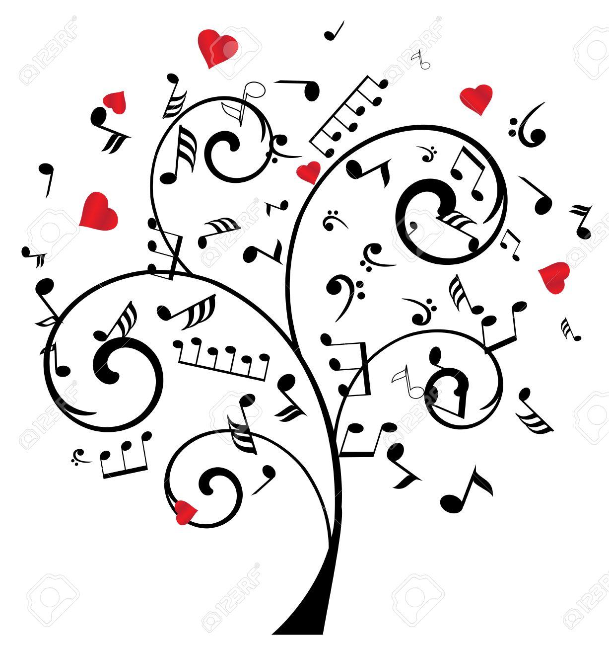 Ilustración De Un árbol Con Las Notas Musicales Y Los Corazones