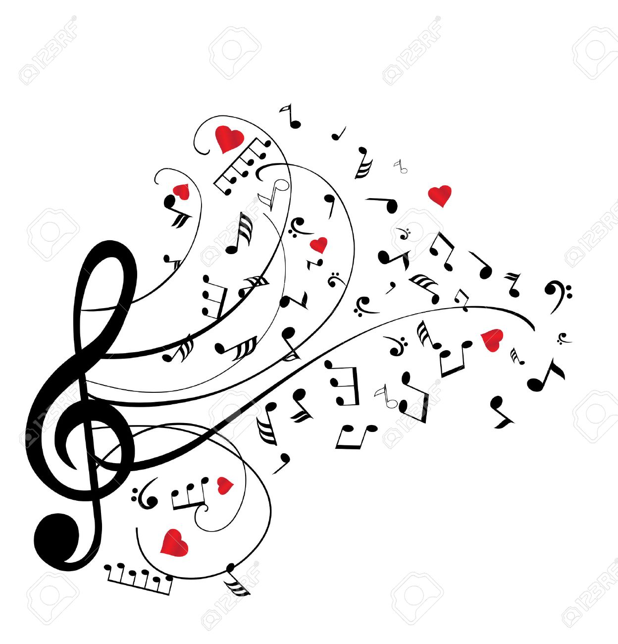 illustration of musical notes with hearts - 53255780