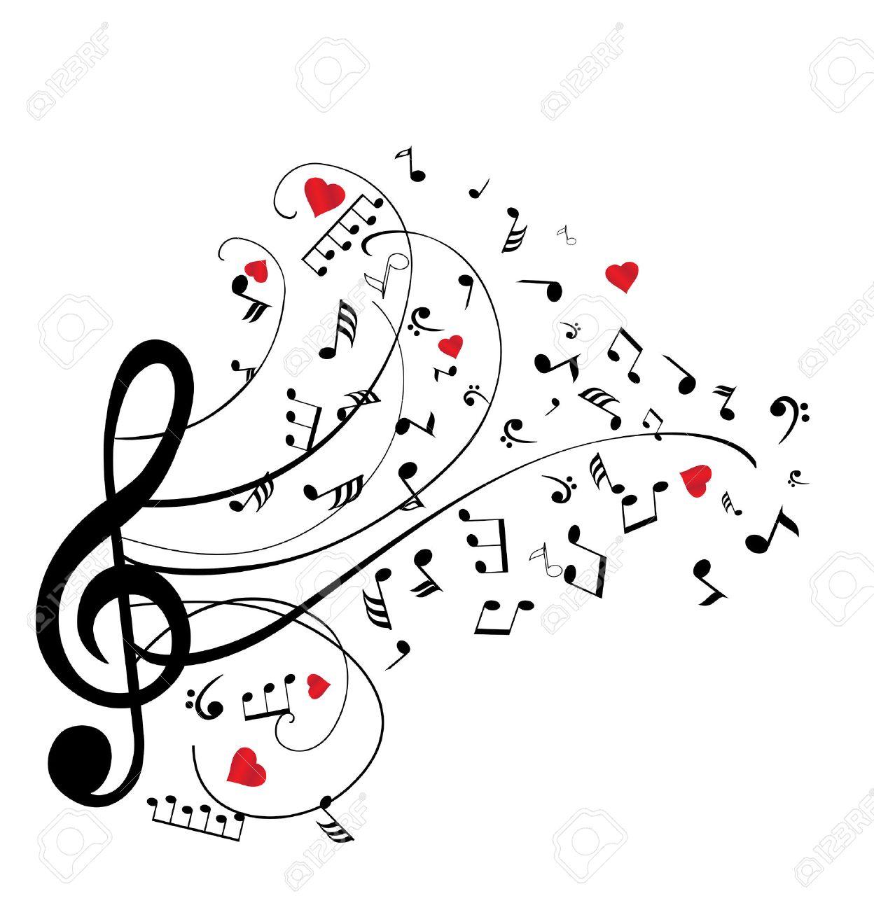 Ilustración De Notas Musicales Con Corazones Ilustraciones