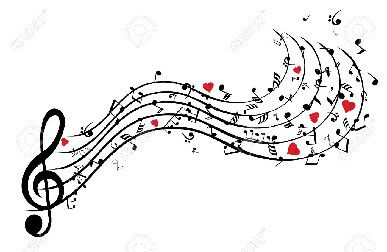 Illustration of musical notes background with hearts - 53428878
