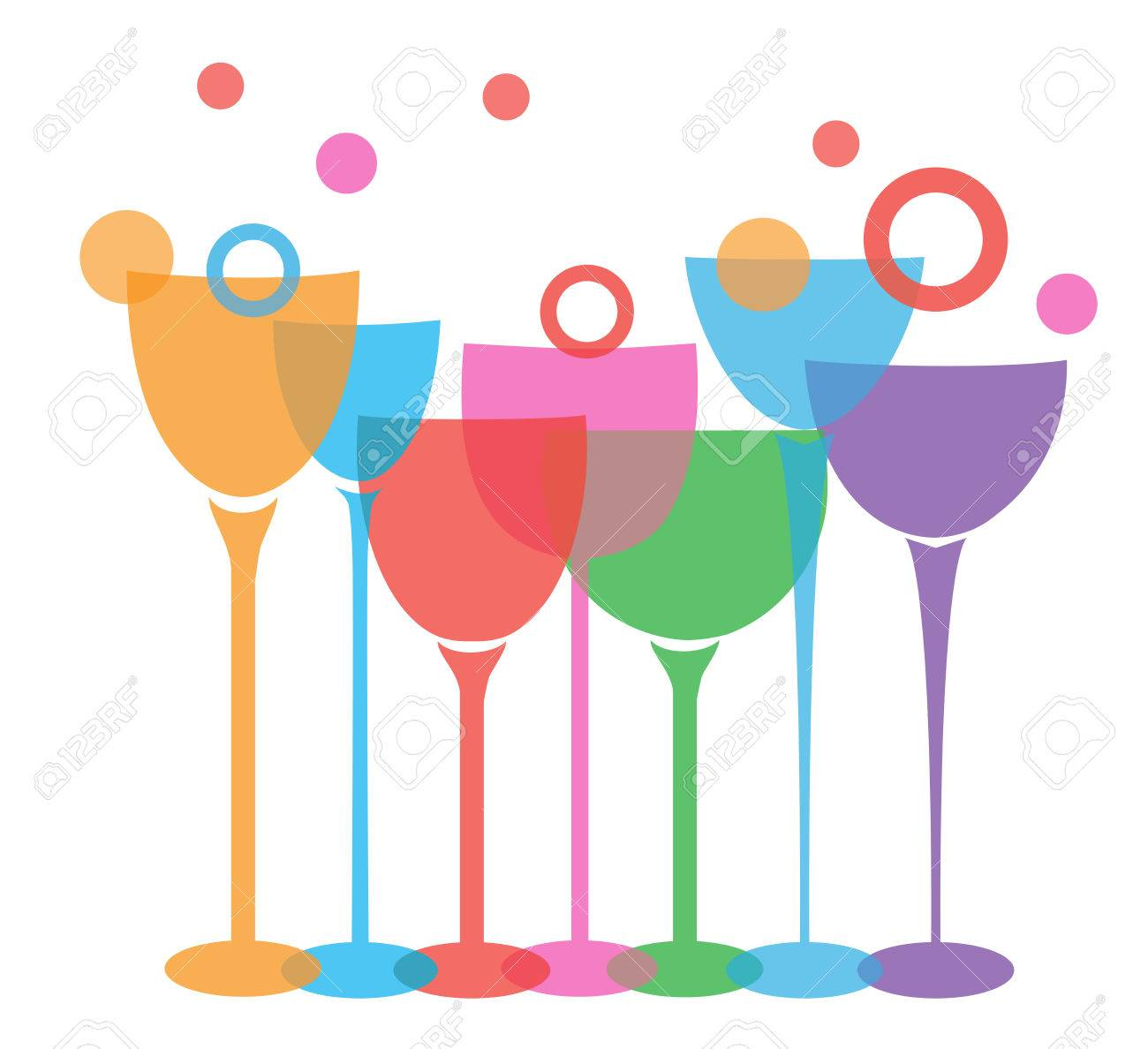 vector illustration of wine glasses isolated on white background - 56735399