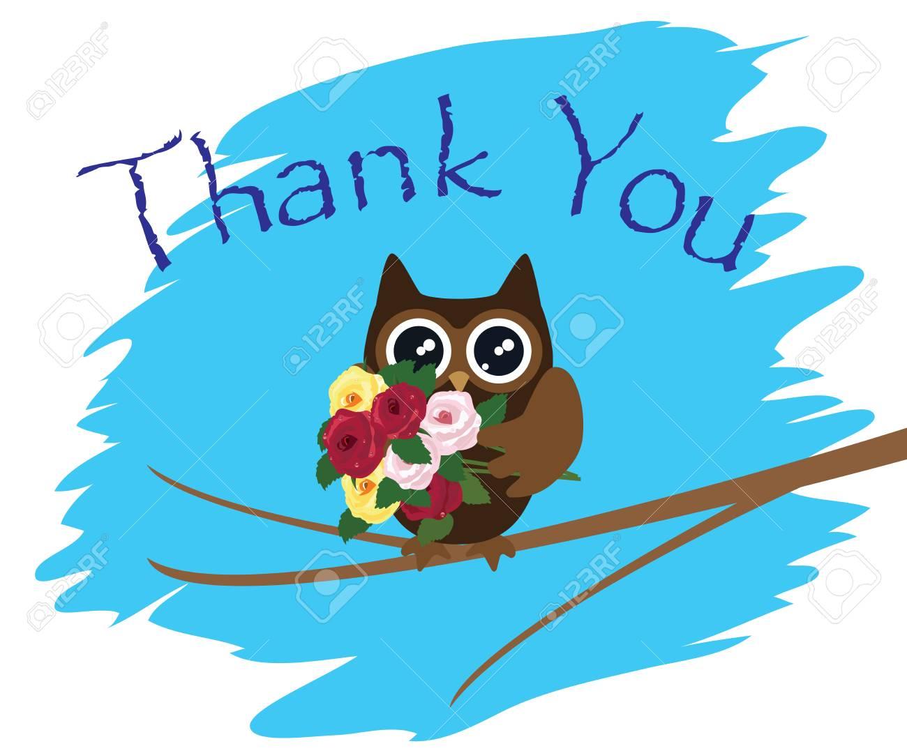 フクロウやバラありがとうカードのベクトル イラスト ロイヤリティフリー