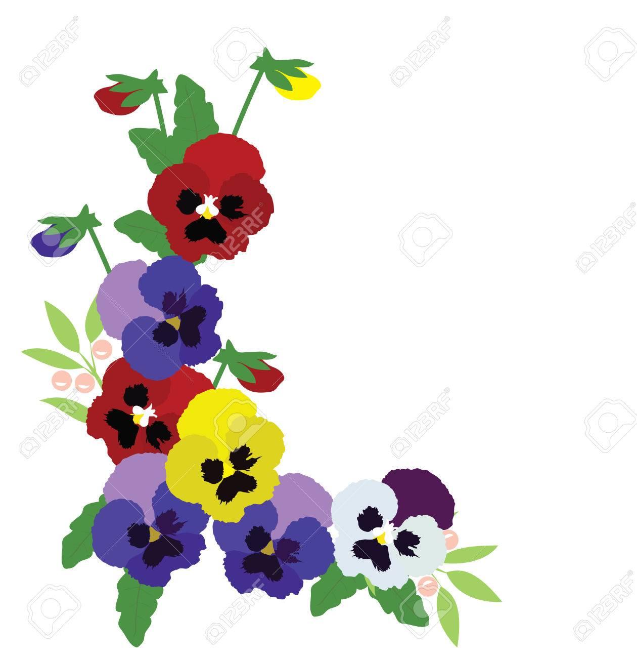 パンジーの花の背景のベクトル イラストのイラスト素材ベクタ Image