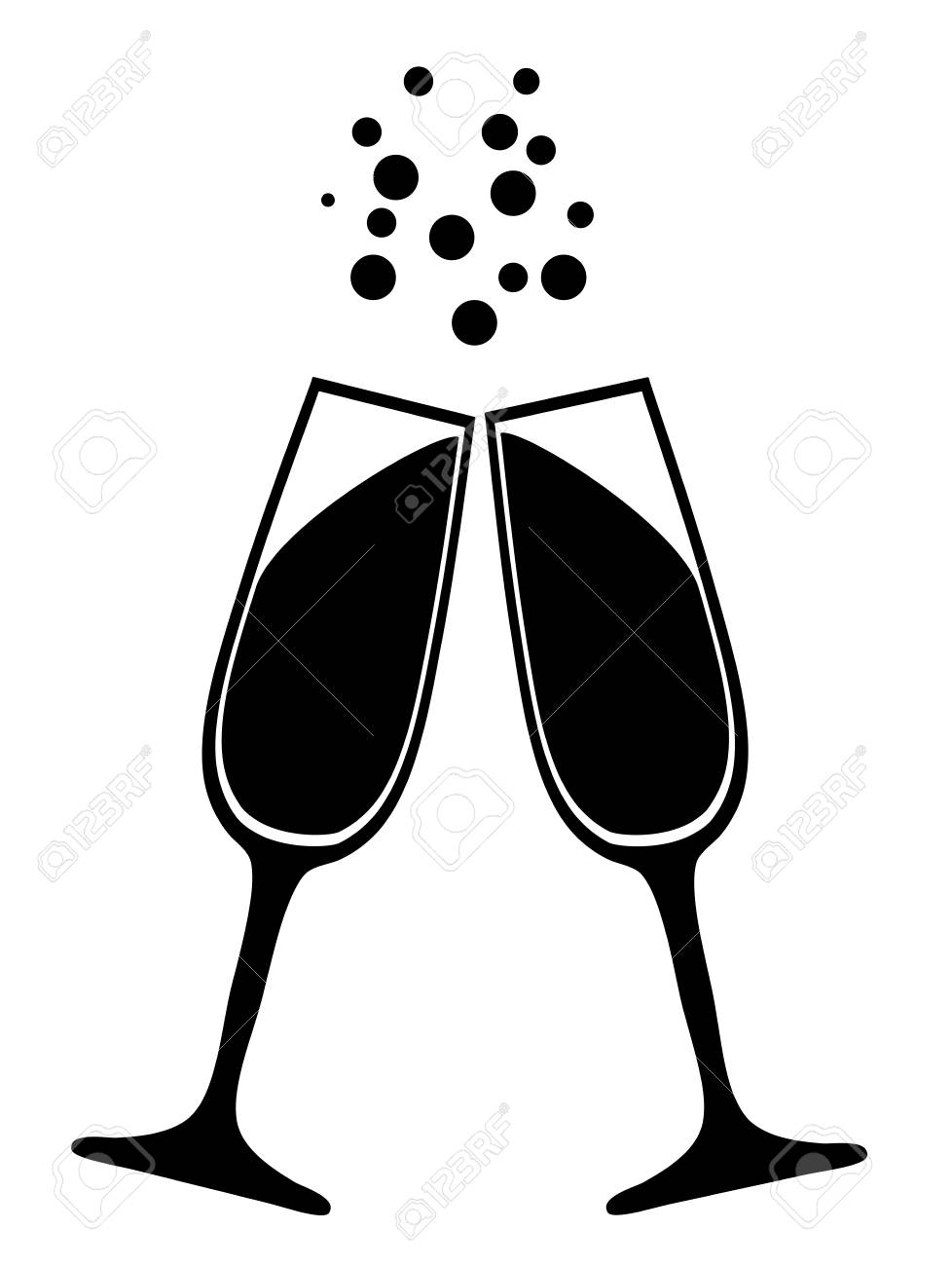 f774f874d6c Vector - vector illustration of champagne glasses silhouettes isolated on  white background